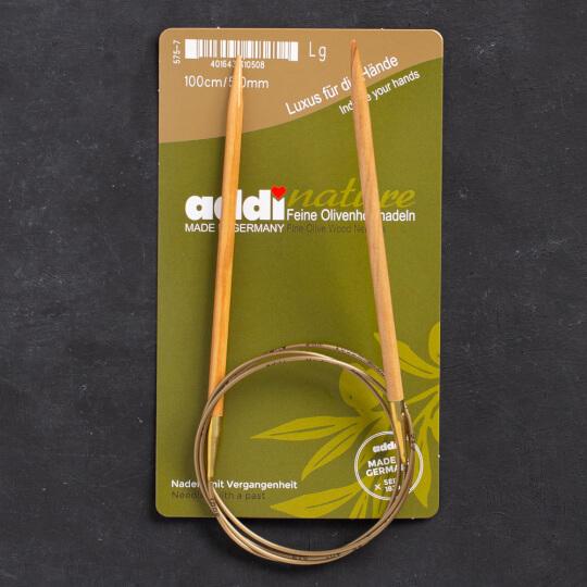 Addi Olive Wood 5 mm 100 cm Zeytin Ağacı Misinalı Örgü Şişi - 575-7