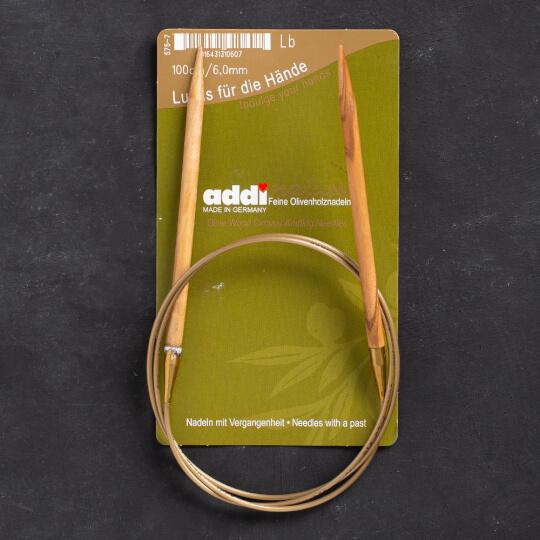 Addi Olive Wood 6 mm 100 cm Zeytin Ağacı Misinalı Örgü Şişi - 575-7