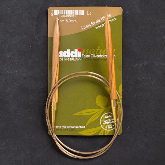 Addi Olive Wood 8 mm 100 cm Zeytin Ağacı Misinalı Örgü Şişi - 575-7
