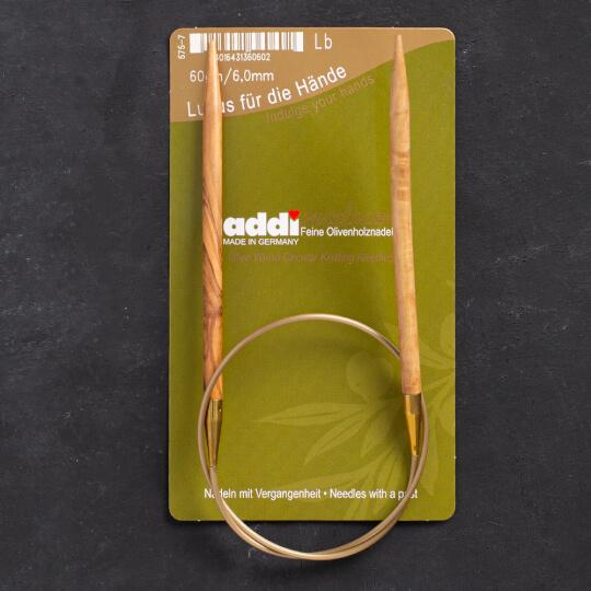 Addi Olive Wood 6 mm 60 cm Zeytin Ağacı Misinalı Örgü Şişi - 575-7