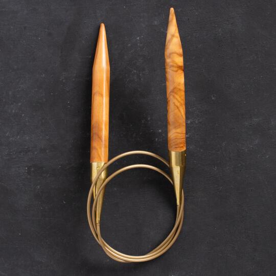 Addi Olive Wood 12 mm 80 cm Zeytin Ağacı Misinalı Örgü Şişi - 575-7