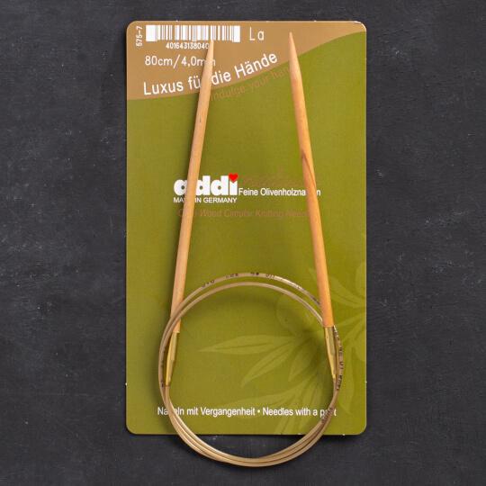 Addi Olive Wood 4 mm 80 cm Zeytin Ağacı Misinalı Örgü Şişi - 575-7