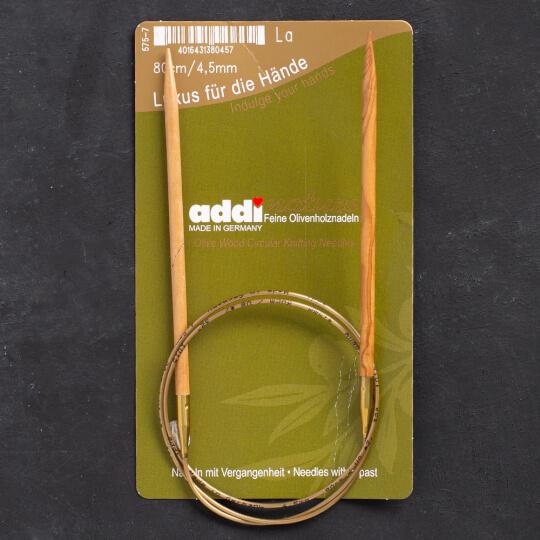 Addi Olive Wood 4,5 mm 80 cm Zeytin Ağacı Misinalı Örgü Şişi - 575-7
