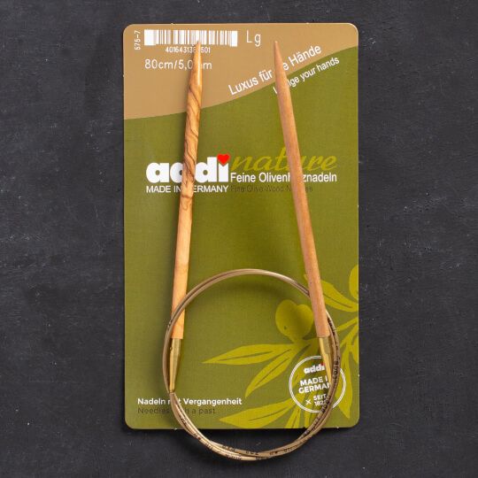 Addi Olive Wood 5 mm 80 cm Zeytin Ağacı Misinalı Örgü Şişi - 575-7