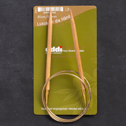 Addi Olive Wood 6 mm 80 cm Zeytin Ağacı Misinalı Örgü Şişi - 575-7