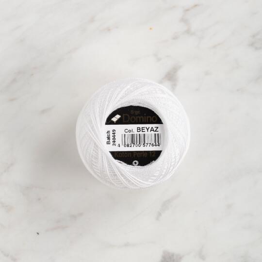 Domino Koton Perle 5gr beyaz No:12 Nakış İpliği - 4590012-beyaz