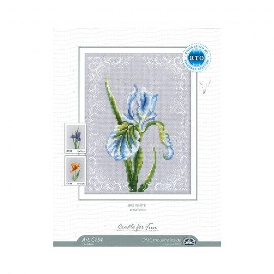 RTO Baltic 15 x 20 cm Beyaz Süsen Çiçeği Desenli Etamin Kiti - C154