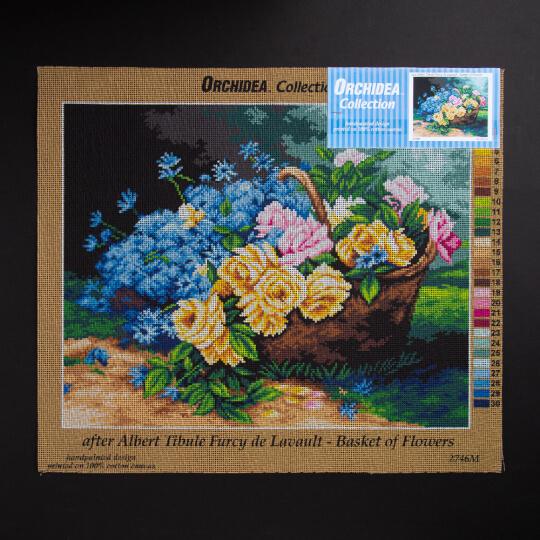 ORCHİDEA 40 x 50 cm  Çiçek Sepeti Baskılı Goblen 2746M