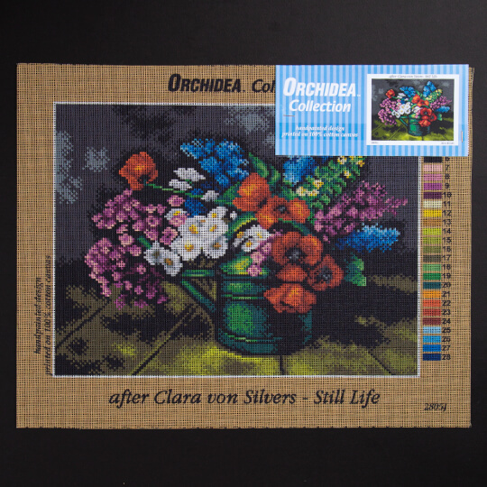 ORCHİDEA 30 x 40 cm Yeşil Sürahideki Renkli Çiçekler Baskılı Goblen 2805J