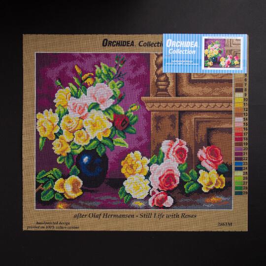 ORCHİDEA 40 x 50 cm  Sarı ve Pembe Güller Baskılı Goblen 2861M