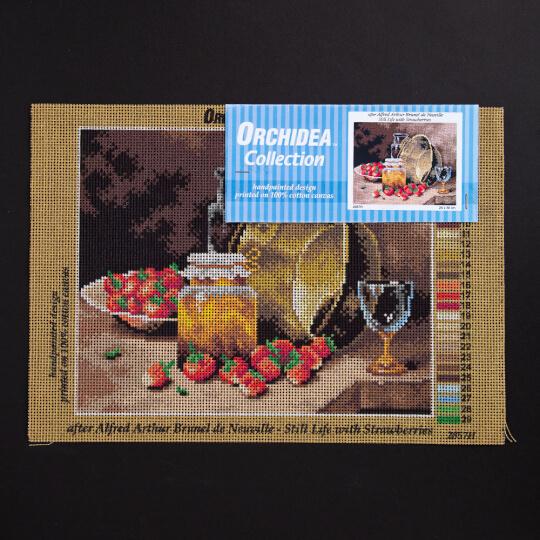 ORCHİDEA 24 x 30 cm Masadaki Çiçekler Baskılı Goblen 2857H