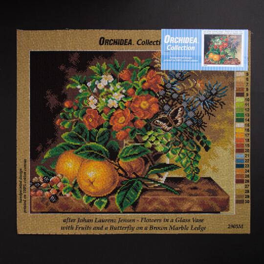ORCHİDEA 40 x 50 cm Cam Vazodaki Çiçekler Baskılı Goblen 2905M