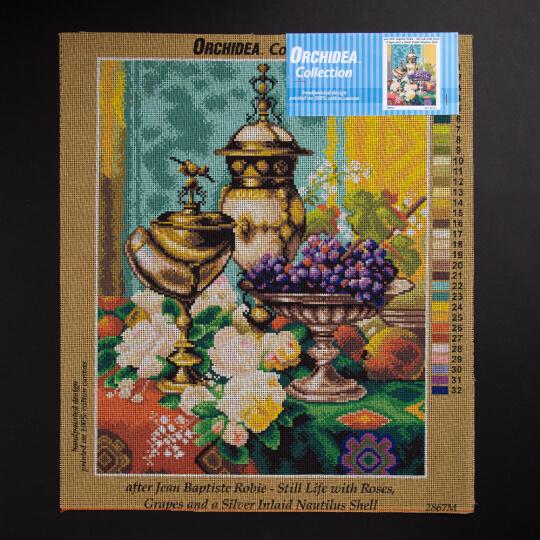 ORCHİDEA 40 x 50 cm Güller ve Üzümler Baskılı Goblen 2867M