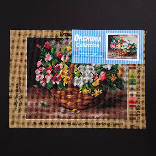 ORCHİDEA 24 x 30 cm Sepetteki Çiçekler Baskılı Goblen  2903H