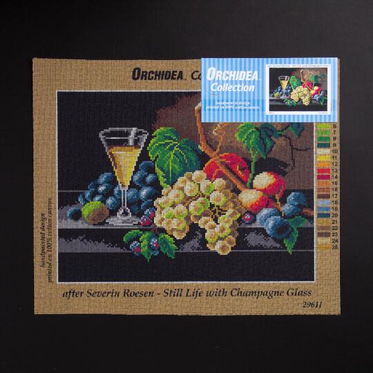 ORCHİDEA 30 x 40 cm Şampanya Kadehi Baskılı Goblen 2961J