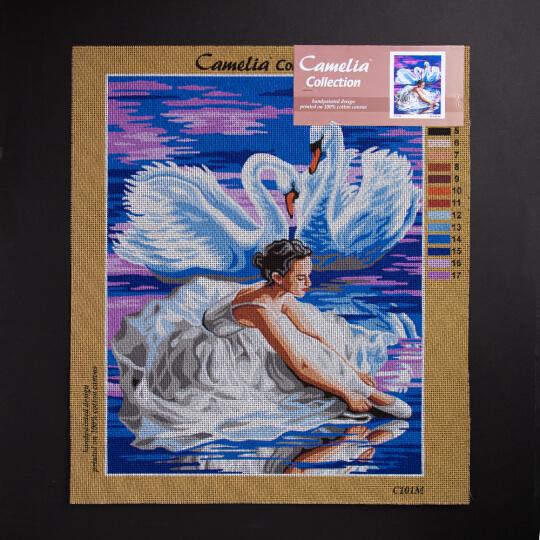 ORCHİDEA 40 x 50 cm Balerin Ve Kuğular Baskılı Goblen C101M