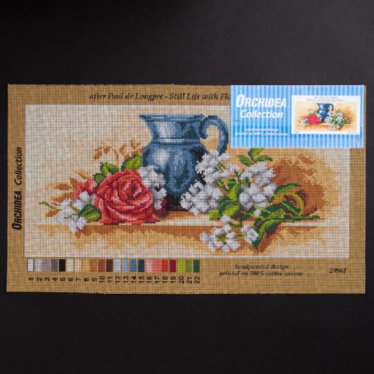 ORCHİDEA 24 x 51 cm  Sürahi ve Çiçekler Baskılı Goblen 2996J