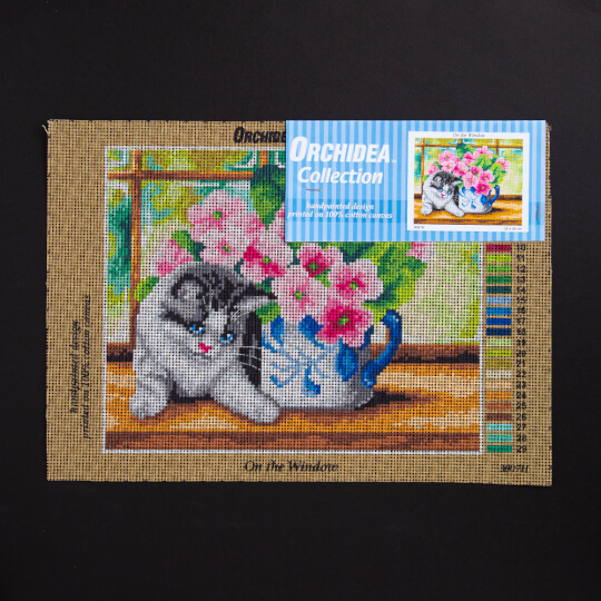 ORCHİDEA 24 x 30 cm Pembe Güller ve Kedi Baskılı Goblen 3007H