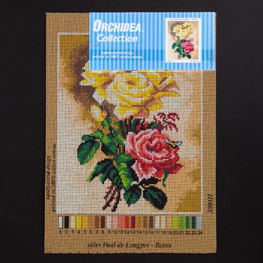 ORCHİDEA 24 x 30 cm Sarı ve Pembe Güller Baskılı Goblen 3001H