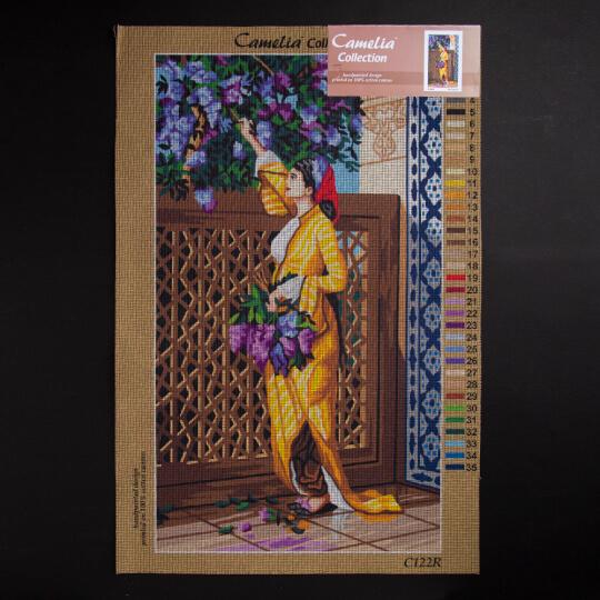 ORCHİDEA 40 x 70 cm Çiçek Toplayan Kadın Baskılı Goblen C122R