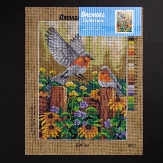 ORCHİDEA 30 x 40 cm Kızılgerdan Kuşları Baskılı Goblen 3050J - Robins