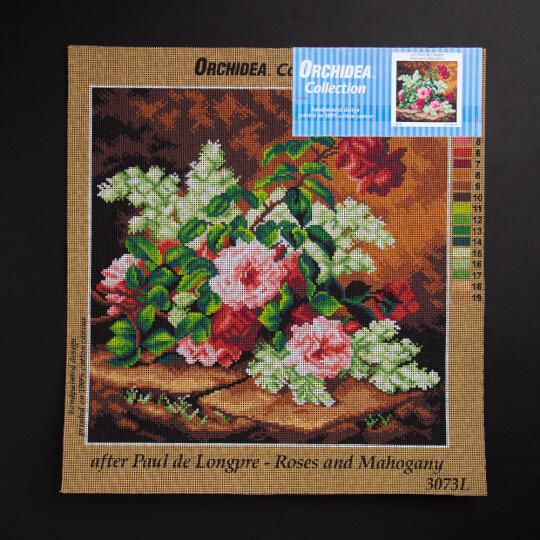 ORCHİDEA 40 x 40 cm Karışık  Çiçekler Baskılı Goblen 3073L