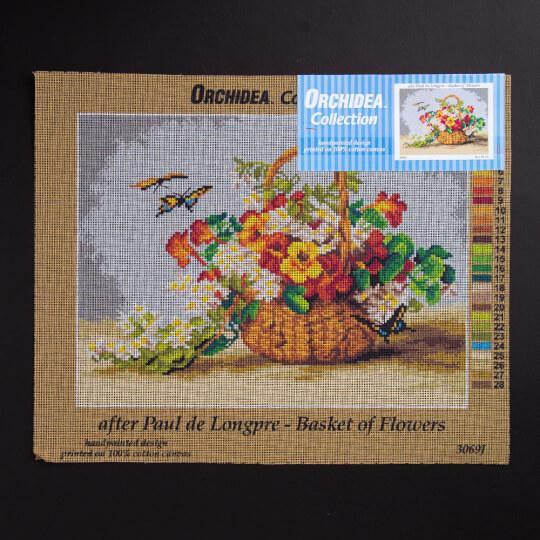 ORCHİDEA 30 x 40 cm  Sepet Dolusu Çiçek Baskılı Goblen 3069J