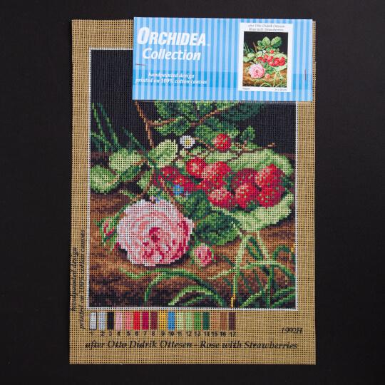 ORCHİDEA 24 x 30 cm Çilekler ve Güller Baskılı Gobleb 1992H