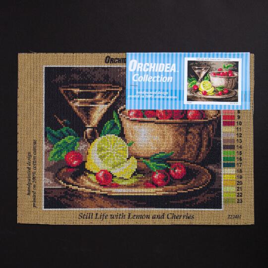 ORCHİDEA 24 x 30 cm Limon ve Kirazlar Baskılı Goblen 2224H