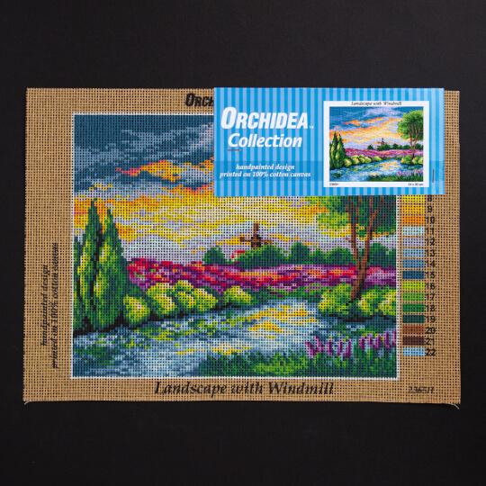 ORCHİDEA 24 x 30 cm Değirmen ve Doğa Baskılı Goblen  2365H