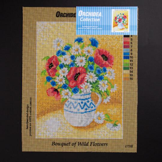 ORCHİDEA 30 x 40 cm Kır Çiçekleri Buketi Baskılı Goblen 1718J