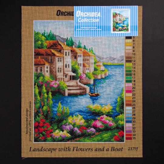 ORCHİDEA 30 x 40 cm  Çiçek ve Tekne Baskılı Goblen 2179J