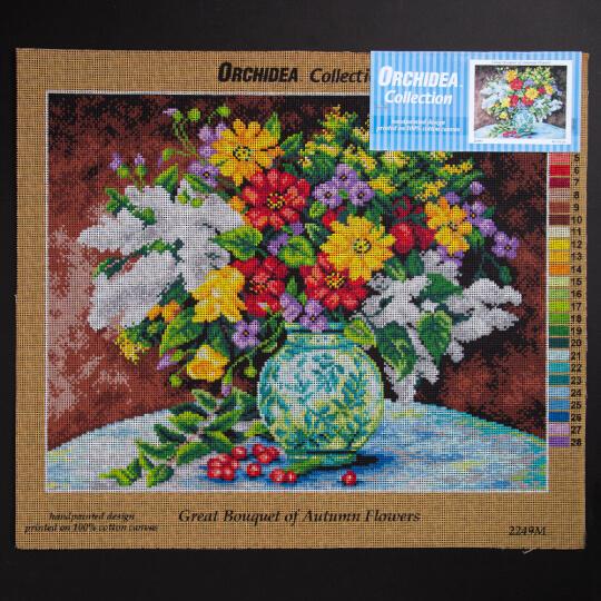 ORCHİDEA 40 x 50 cm Vazodaki Çiçekler Baskılı Goblen 2249M