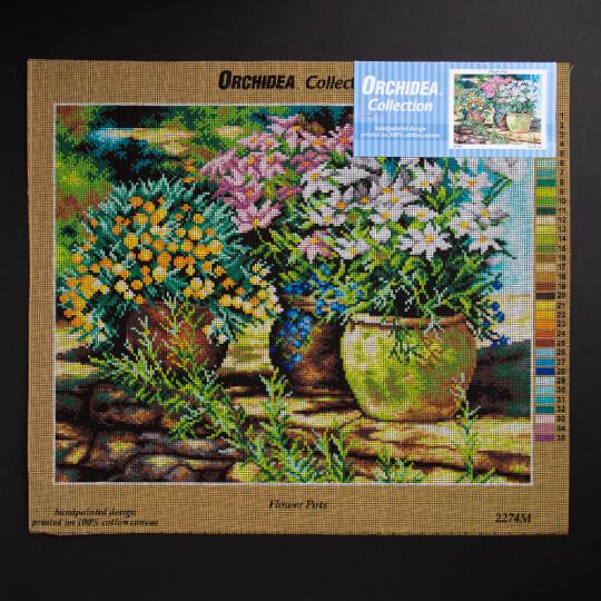 ORCHİDEA 40 x 50 cm Saksıdaki Çiçekler Baskılı Goblen 2274M