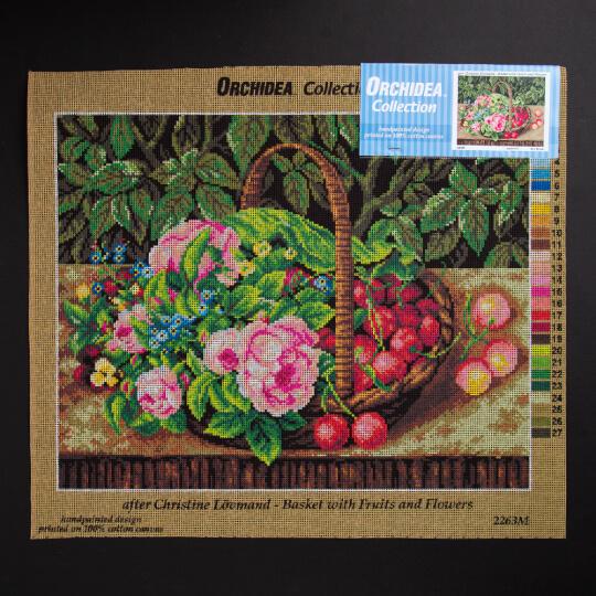 ORCHİDEA 40 x 50 cm Sepetteki Meyve Ve Çiçekler Baskılı Goblen 2263M