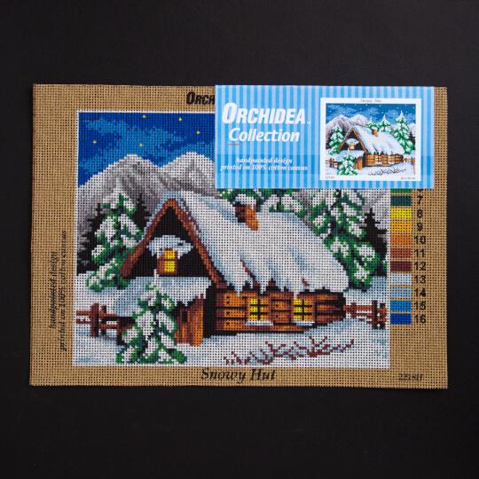 ORCHİDEA 24 x 30 cm Karlı Ev Baskılı Goblen 2218H