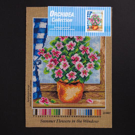 ORCHİDEA 24 x 30 cm Pencere Önündeki Yaz Çiçekleri Baskılı Goblen 2180H