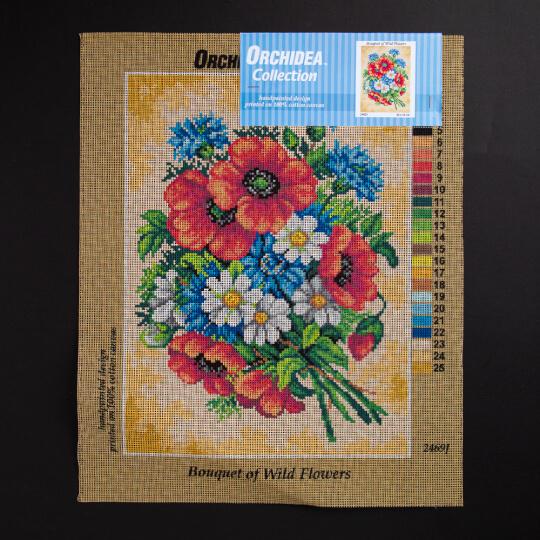 ORCHİDEA 30 x 40 cm Yabani Çiçek Buketi Baskılı Goblen 2469J