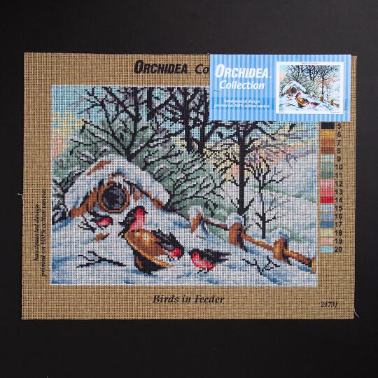 ORCHİDEA 30 x 40 cm Kuş Yuvası Önündeki Kuşlar Baskılı Goblen 2473J