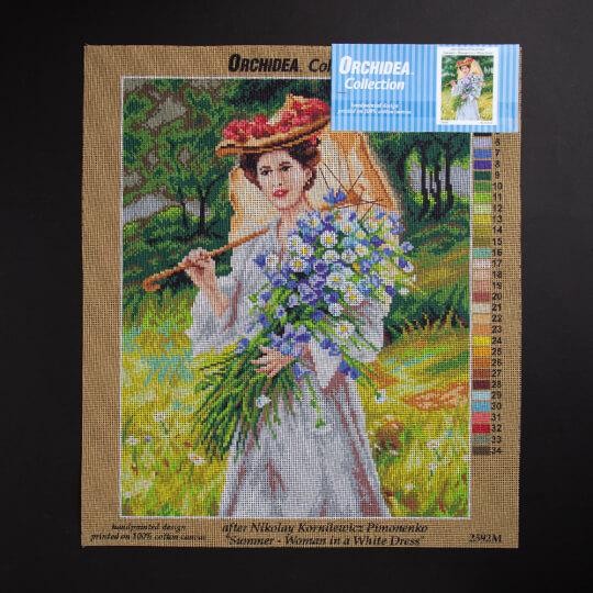 ORCHİDEA 40 x 50 cm Beyaz Elbiseli Kadın Baskılı Goblen 2592M