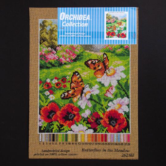 ORCHİDEA 24 x 30 cm Çiçeklerdeki Kelebekler Baskılı goblen 2628H