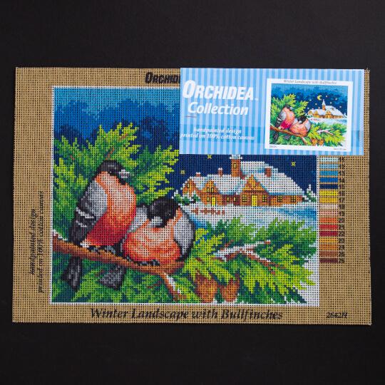 ORCHİDEA 24 x 30 cm Kuş Çifti Kış Baskılı Goblen 2642H