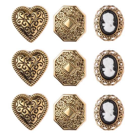 Buttons & Galore Altın Kaplı Desenler Dekoratif Düğme - 4401
