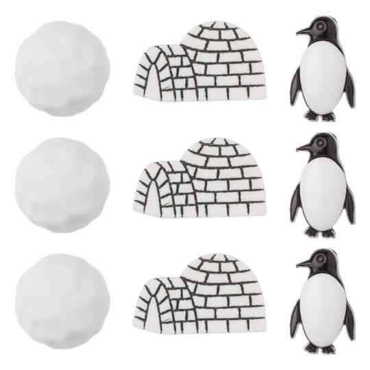 Buttons & Galore Penguen ve Kar Dekoratif Düğme - 4270