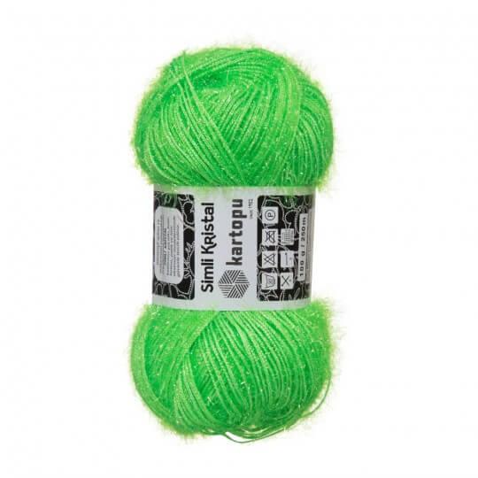 Kartopu 5'li paket Simli Kristal Yeşil El Örgü İpi - K407
