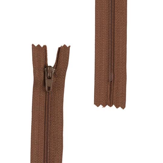 Loren 10 adet 70 Cm Kahverengi Dipli Naylon Fermuar