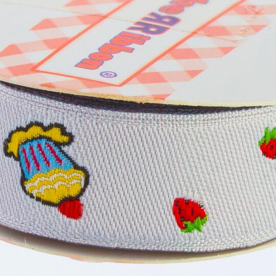 Sticker Ribbon Cupcake Baskılı Yapışkan Kurdele - SR1695