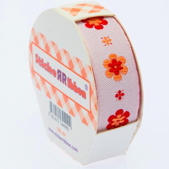 Sticker Ribbon Turuncu Çiçek Baskılı Yapışkan Kurdele - SR-1690-V2