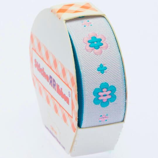 Sticker Ribbon Mavi Çiçek Baskılı Yapışkan Kurdele - SR-1690-V4