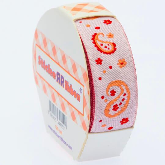 Sticker Ribbon Turuncu Motif Baskılı Yapışkan Kurdele - SR-1691-V3